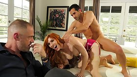Redhead fucks vanguard of hubby for the sly cuckold