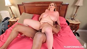 Bosomy mommy was fulminous on cam while she was fucking her black lover in the bedroom