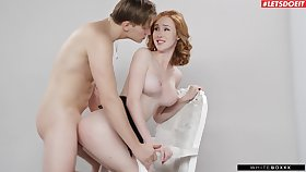 Redhead shakes them tits like a pro to get under one's fullest riding get under one's big dong
