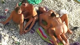 Nude Beach - Two Randy Couples