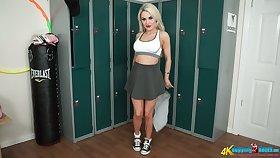 Playful blondie fleetingly skirt Ashley Chouse shows striptease in the locker room