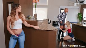 Lucky lady's man got surprised here a triune by hot Cherie DeVille