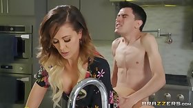 Pervert guy fucked X-rated stepmom Cherie Deville on the frieze