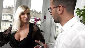 Busty ancient rich woman Anna Valentina gets energize with young fancy man