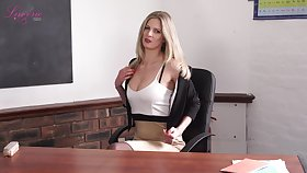 Elegant teacher Leah gets bald and shows off off her perky yummy titties