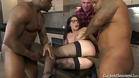 Cuckold husband watches Avi Love getting fucked by several BBCs