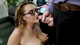 Hot office sex executed up with big facial
