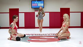 Catfight in a MMA boom more pornstars Ariel X and Mistress Kara