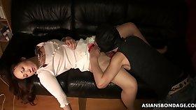 Boyfriend licks and fucks pussy of sleeping girlfriend Ayumi Wakana