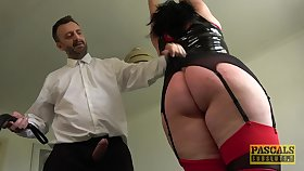 Tall BBW with a broad in the beam dimpled butt gets punished and fucked