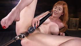 Unequalled woman uses the fucking machine to suit her dirty porn needs