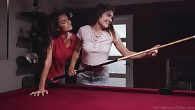 Critical lesbian Silvia Saige is fucking young brunette on the billiard table