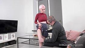 Old man definitely appreciates a young woman's body plus Aiya loves a nice fuck
