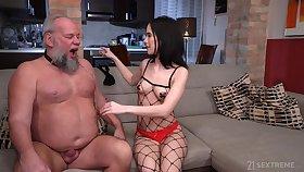 Perverted old guy Albert enjoys fucking young domme Nikki Fox